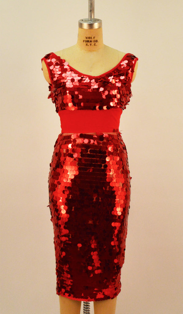 Detroit Red Sequin Wiggle Dress
