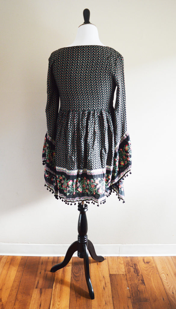 Black Paisley Print Pom-Pom Dress Top