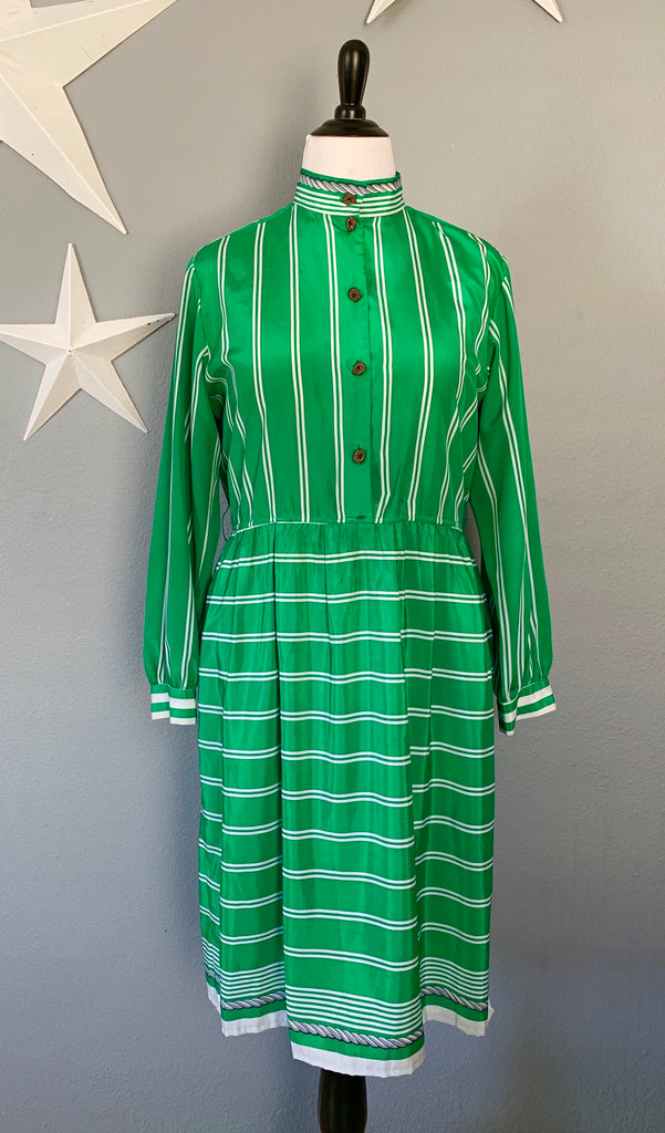 80's Emerald Green Nautical Dress