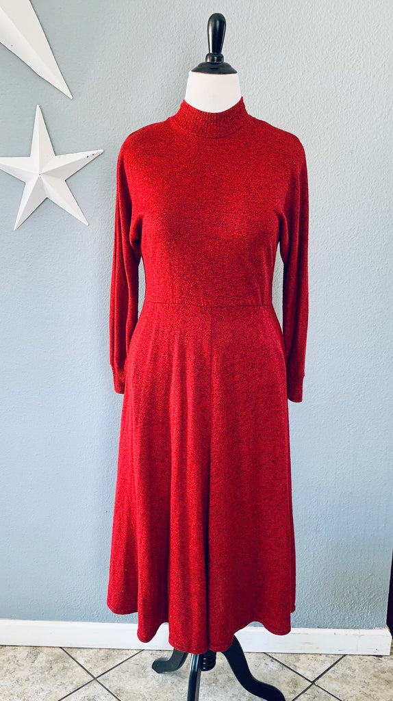 80's Red and Black Speck Turtle Neck Sweater Dress with Pockets MD