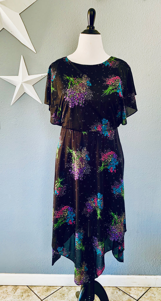 70's Disco Babe Floral Bouquet Dress MD