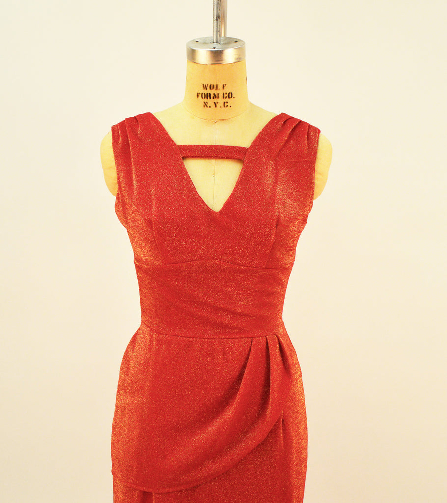 Jazz Star Red and Gold Stretch Lurex Dress