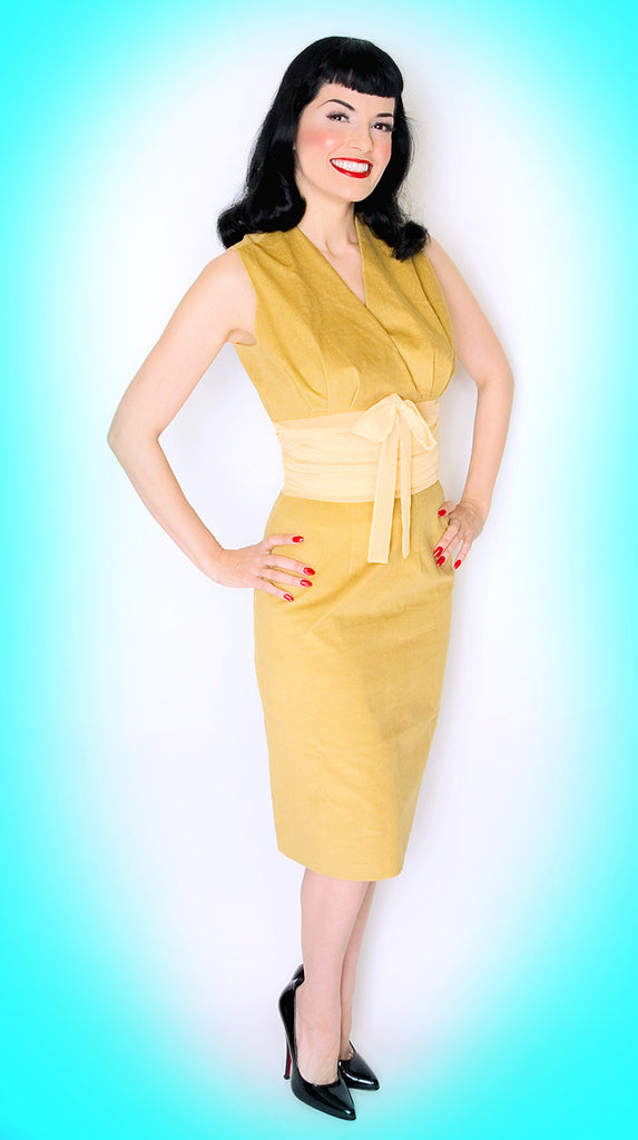 Scarlett Mustard Velveteen and Chiffon Dress