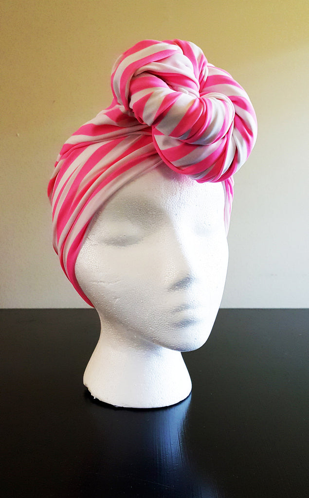 Pink Stripe Top Knot Headwrap Turban