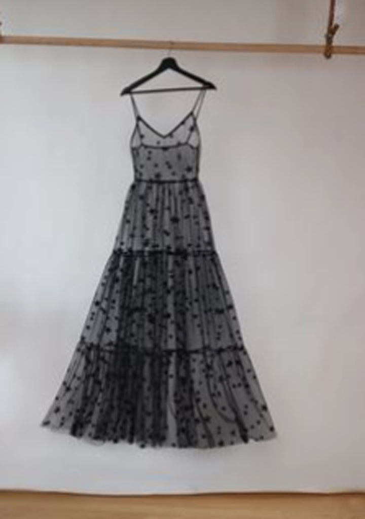 Starry Night Long Glitter and Tulle Sheer Dress