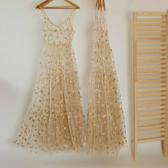 Tulle Long Glitter Stars Spaghetti Strap Dress