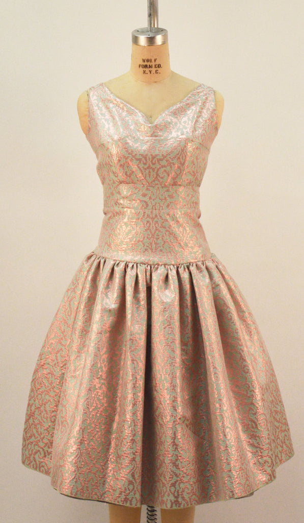 Rita Drop Waist Blue and Rose Gold Brocade Dress - Plus Fashion Up to Size 32