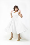 White Brenda Scalloped Neck Sateen Dress - Plus Fashion Up to Size 32