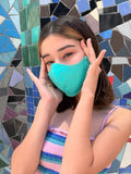 Solid Turquoise Cotton Sateen Face Mask