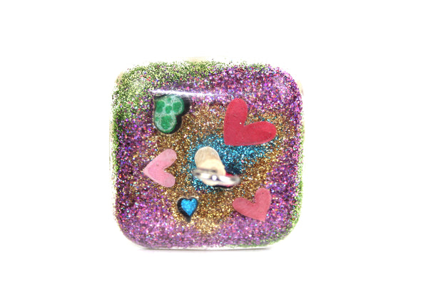 Glittery Hearts square Drop Spindle #350