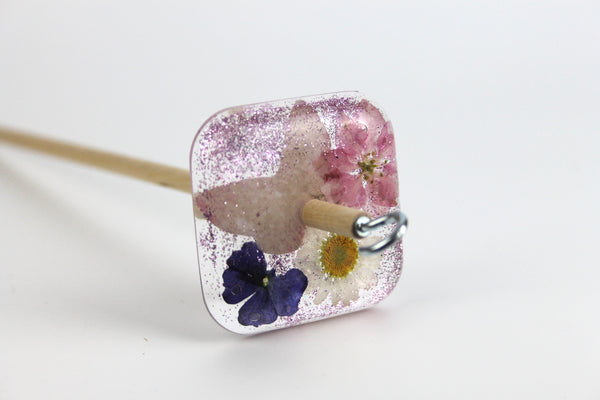 Butterfly flower Square Drop Spindle #355