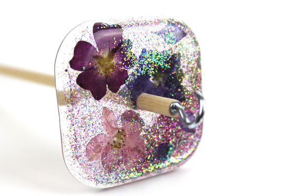 Larger Glittery Flower Square Drop Spindle #356