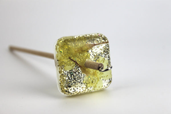 Gold Floral Square Drop Spindle #365