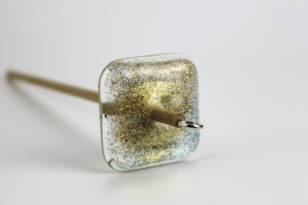 Gold and Turquoise Glitter Square Drop Spindle #368