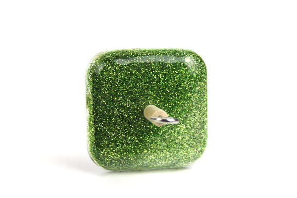 Green Glitter Square Drop Spindle #377