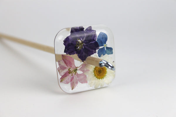 Pressed Flowers Square Drop Spindle #380
