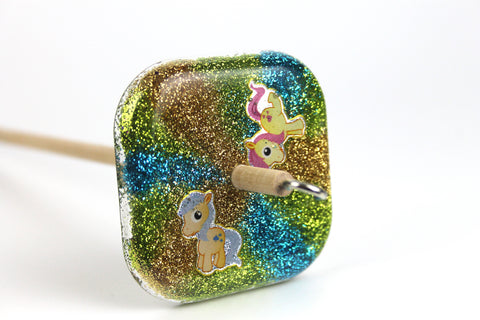 Square Rainbow Drop Spindle with Glitter #391