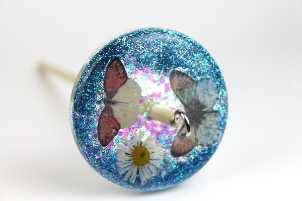 Butterflies and Flowers Drop Spindle with Glitter #389