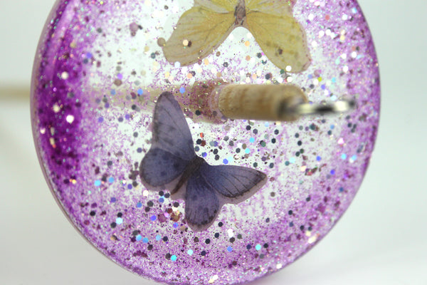 Pink Butterfly Drop Spindle with Glitter #396