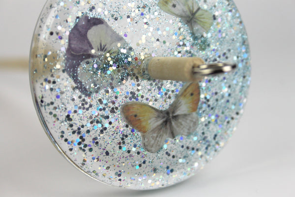 Blue Butterfly Drop Spindle with Glitter #403