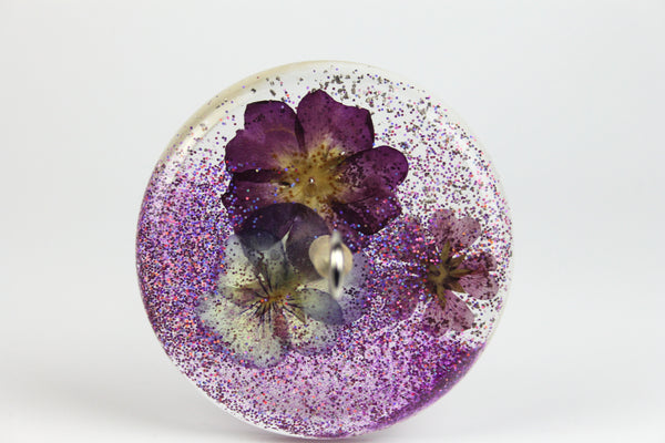 Pressed Flower Drop Spindle with Glitter #409