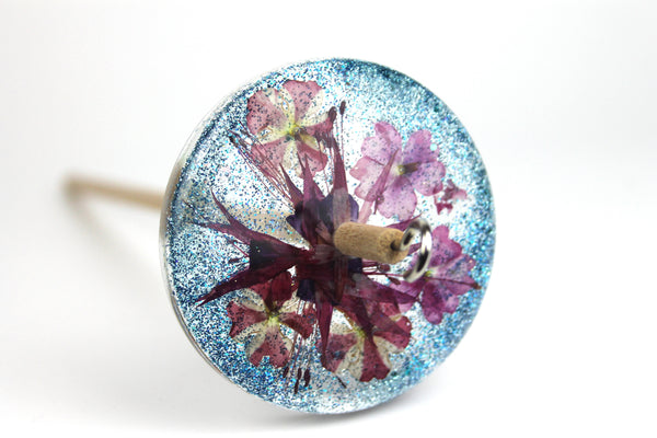Floral Drop Spindle with Glitter #415