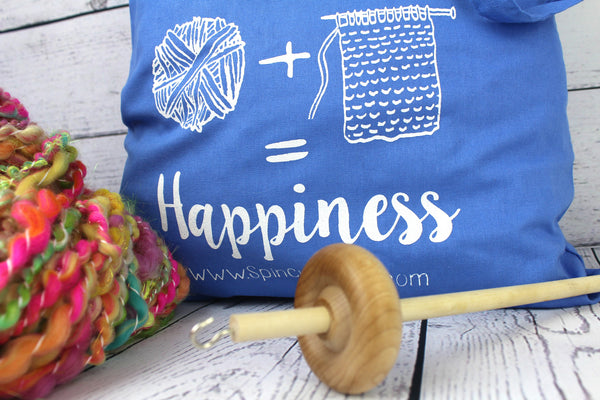 Blue Project Tote Bag - Spinning = Happiness