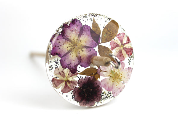 Floral Drop Spindle with Glitter #418