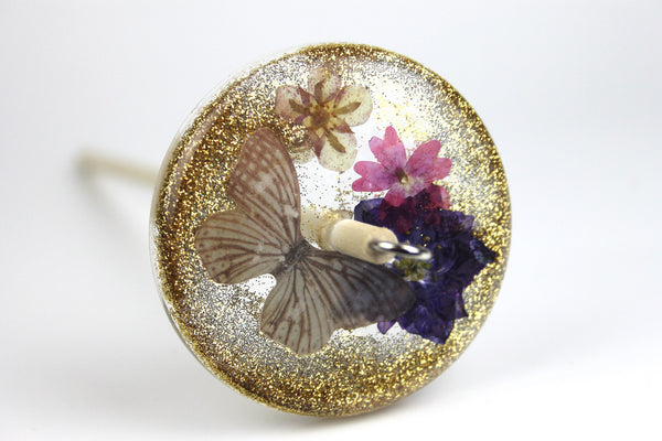 Butterfly Floral Drop Spindle with Glitter #419