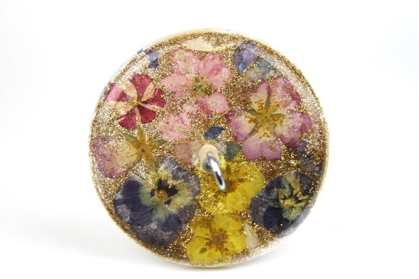 Floral Drop Spindle with Glitter #421