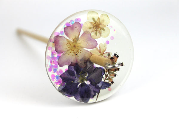 Floral Drop Spindle with Glitter #422