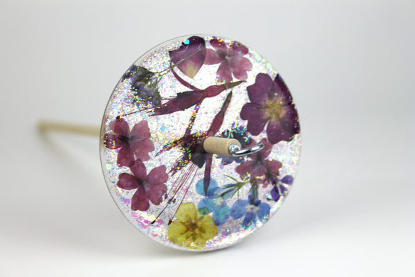 Floral Drop Spindle with Glitter #425
