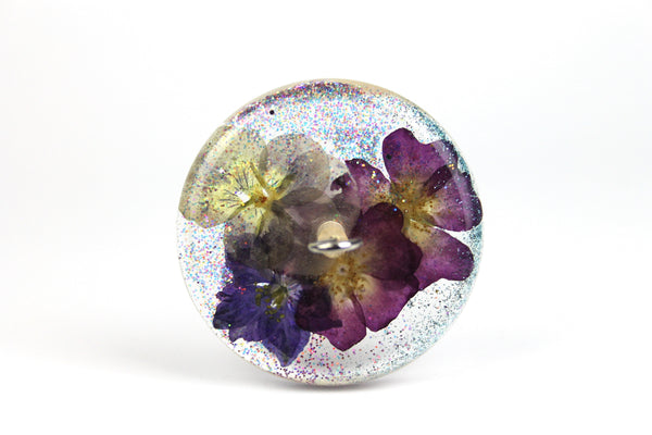 Floral Drop Spindle with Glitter #426