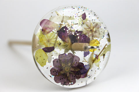 Floral Drop Spindle with Glitter #427