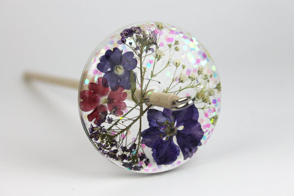 Floral Drop Spindle with Glitter #430