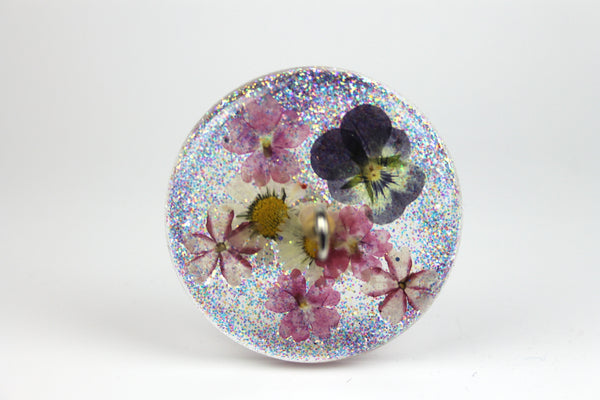Floral Drop Spindle with Glitter #433