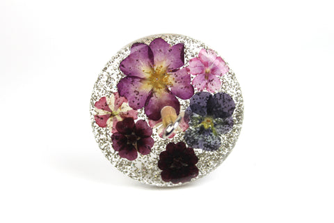 Floral Drop Spindle with Glitter #434
