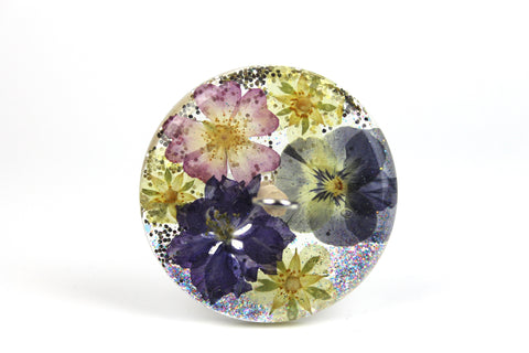 Floral Drop Spindle with Glitter #435