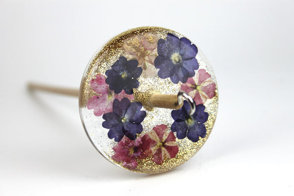 Floral Drop Spindle with Glitter #436