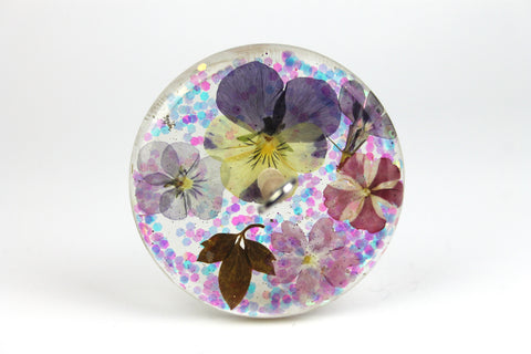 Floral Drop Spindle with Glitter #437