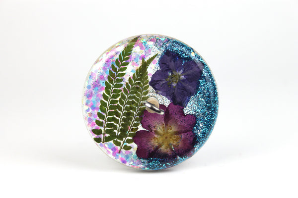 Floral Drop Spindle with Glitter #438