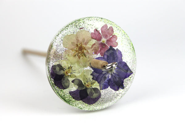 Floral Drop Spindle with Glitter #439
