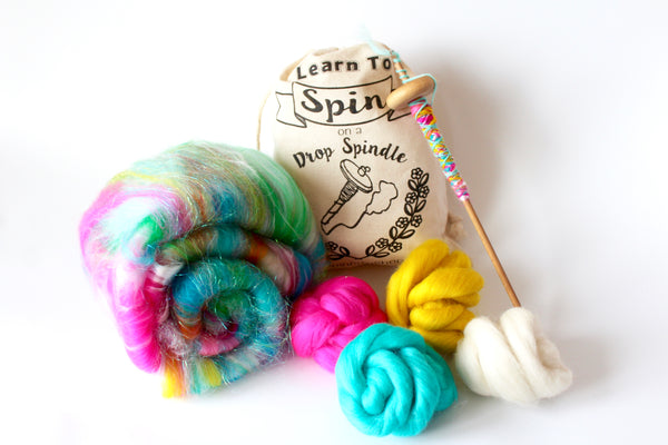 Rainbow Learn To Spin Kit - Drop Spindle Kit