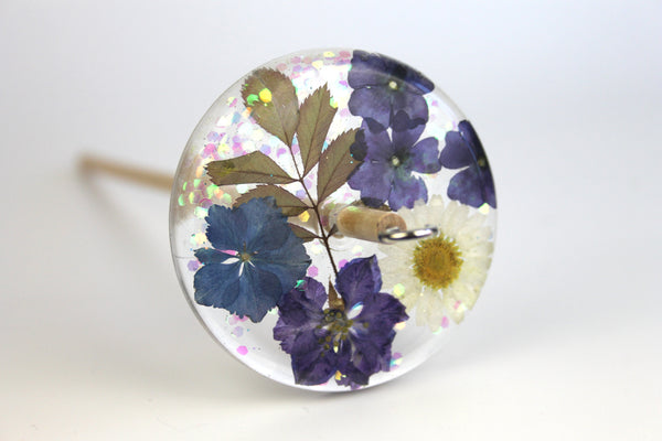 Glitter and Flowers Drop Spindle #511