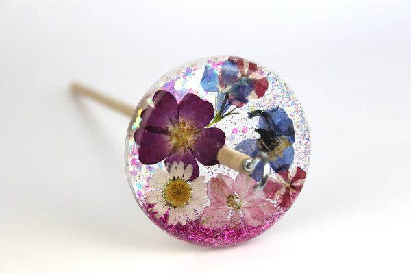 Delphinium Glitter and Flowers Drop Spindle #512