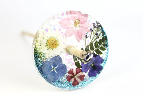 Turquoise Glitter and Flowers Drop Spindle #514