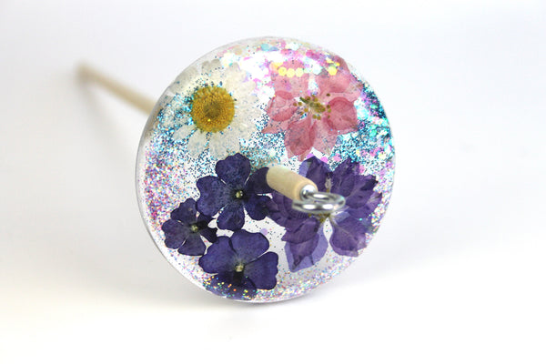 Glittery Floral Drop Spindle #503