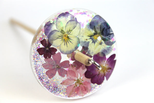 Glittery Floral Drop Spindle #462