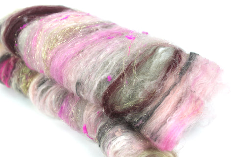 Rose Quartz - Hand Carded Batt For Spinning Or Felting