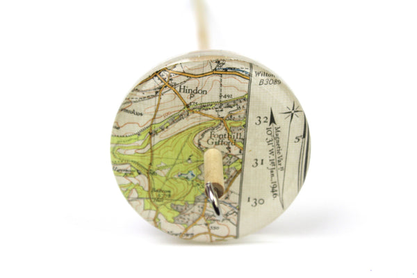 Drop Spindle with Vintage Map